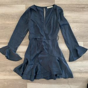 Here comes the sun navy mini dress with ruffles
